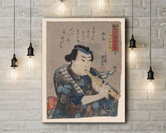 Utagawa Kuniyoshi: Goshaku Somegoro Playing Shakuhachi. Fine Art Canvas.